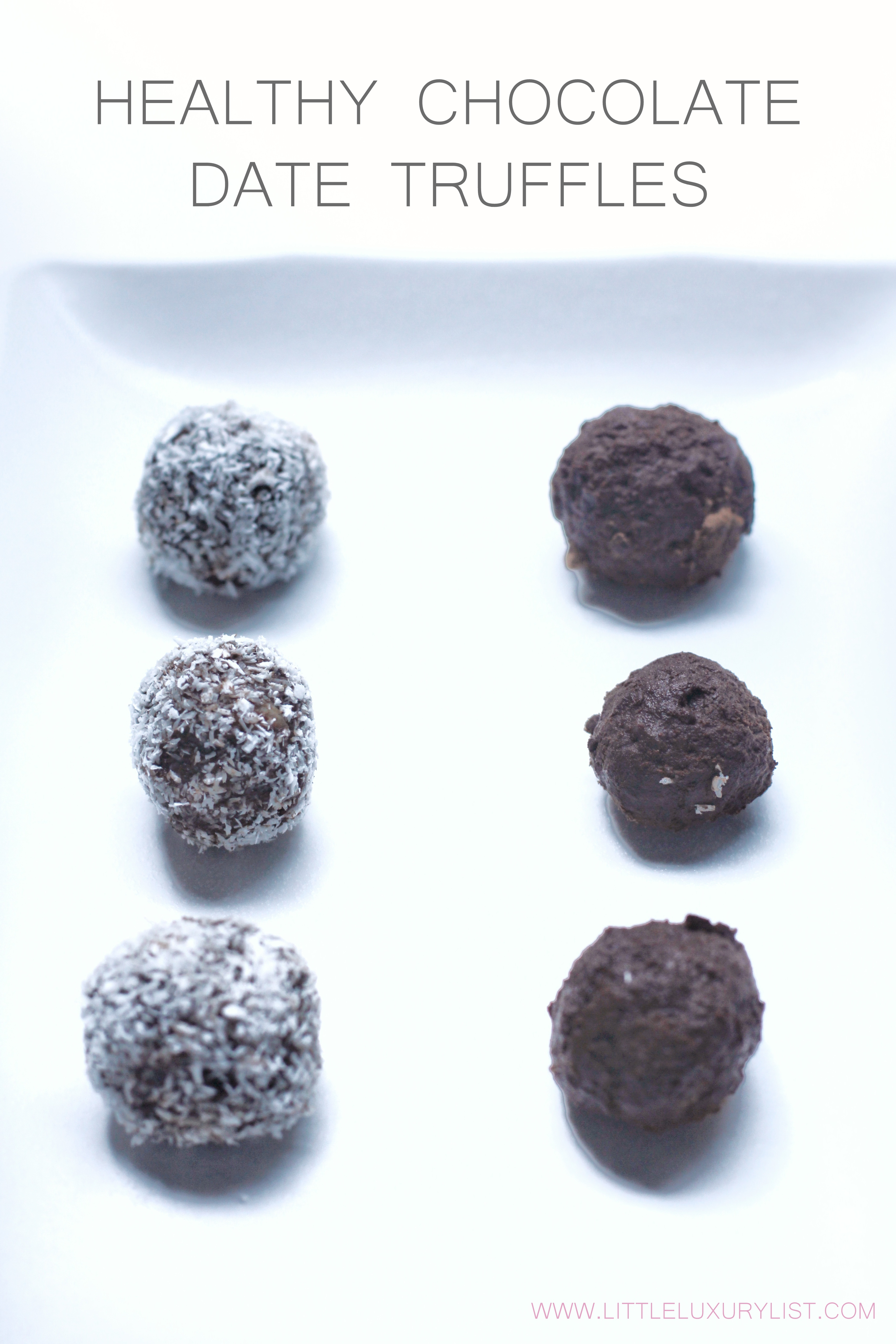 Healthy Chocolate Date Truffles two rows