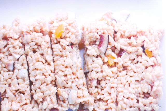 Healthy Tropical Rice Krispies Treats top view closeu[