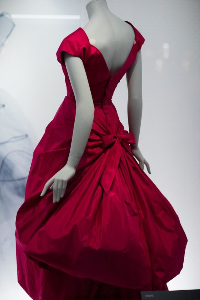 Balenciaga Fashion Exhibition at V&A Museum red dress with bustle