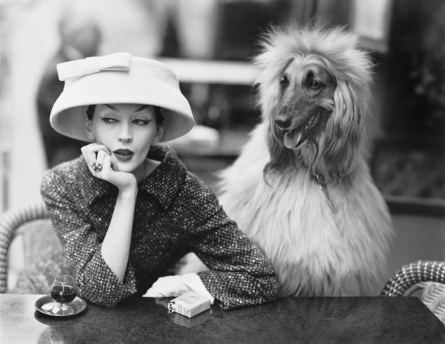 Balenciaga Fashion Exhibition at V&A Museum woman with dog