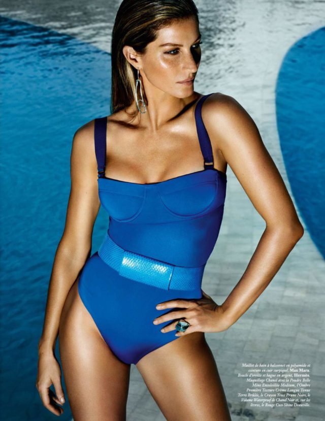 Gisele Bundchen by Mario Testino for Vogue Paris June July 2017 blue Max Mara swimsuit