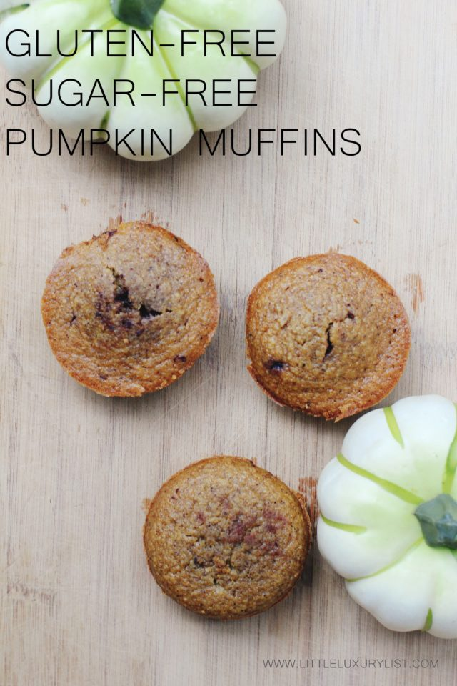 Gluten-free Sugar-free Pumpkin Muffins top view with pumpkins