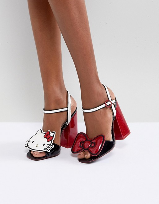 Hello Kitty X ASOS heeled sandals with removable badges