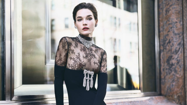 Reem Acra Spring 2018 for Bazaar Bridal in black lace gown
