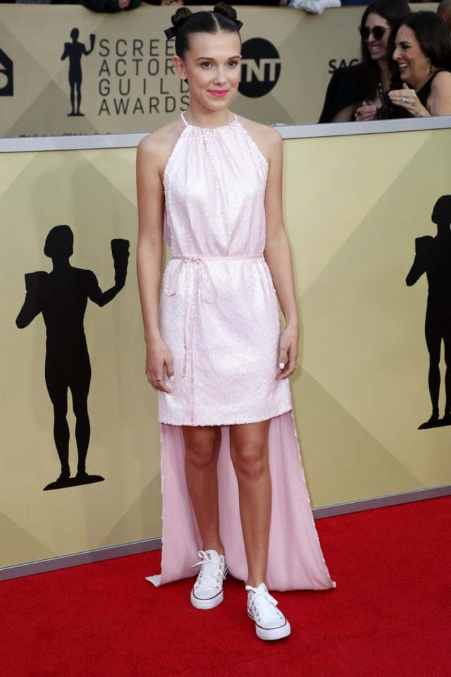 Pink gowns at the SAG Awards 2018 - Millie Bobby Brown in Calvine Klein by Appointment