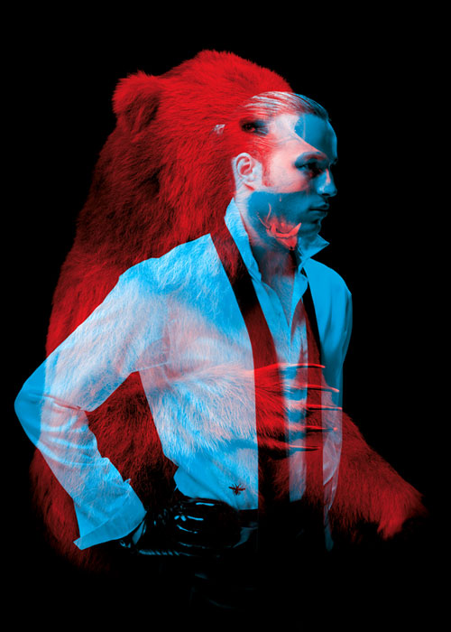 Helmo Bêtes de mode fashion and animals double exposure photography bear