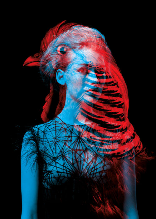 Helmo Bêtes de mode fashion and animals double exposure photography bird