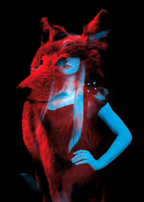 Helmo Bêtes de mode fashion and animals double exposure photography wolf